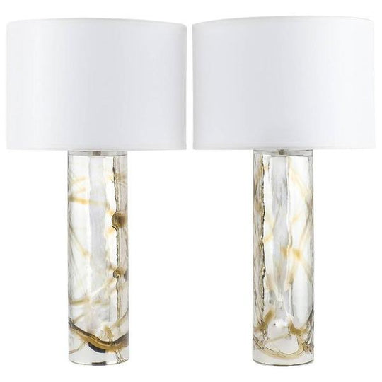 Murano Mercury Glass Lamps with Amber Swirls