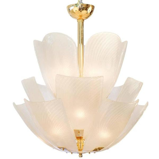 Murano White Swirl Petal Glass and Brass Chandelier