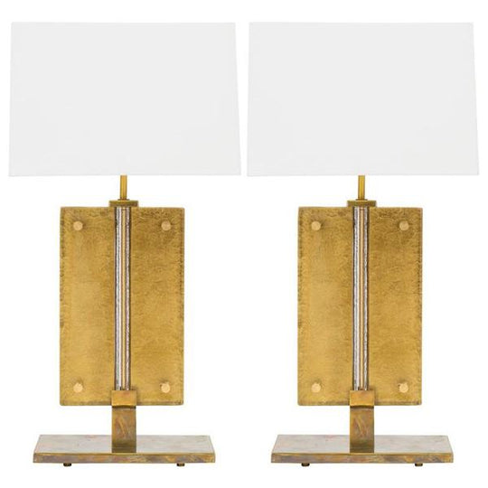 Murano Gold-Leafed Glass Slab Lamps