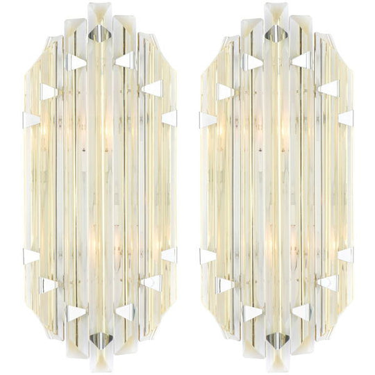 Murano Citron and Clear Glass Sconces