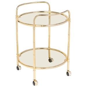 Maison Bagues Mid-Century Brass Faux Bamboo Bar Cart