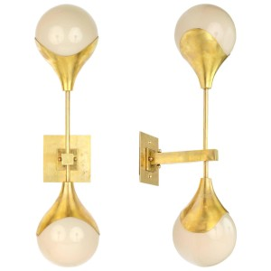 Mid-Century Modern Murano Glass and Brass Sconces