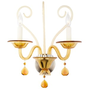 Vintage Murano Amber Glass Wall Sconce