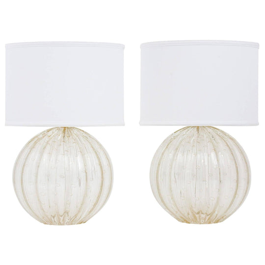 "Pair ""Pulegoso"" Hand Blown Murano Globe Lamps"