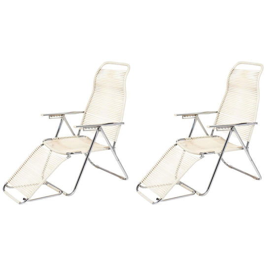 Pair Vintage French Adjustable Chaises Longues