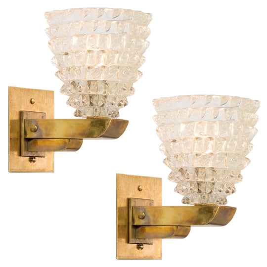 Pair Murano Rostrate Glass Sconces