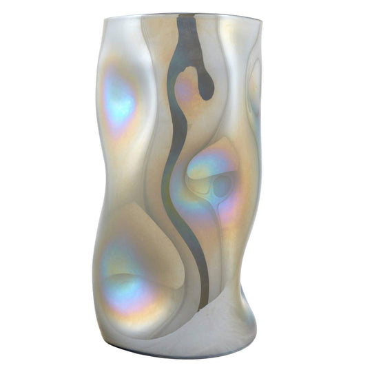 Sculptural Iridescent Mirrored Murano Glass Vase