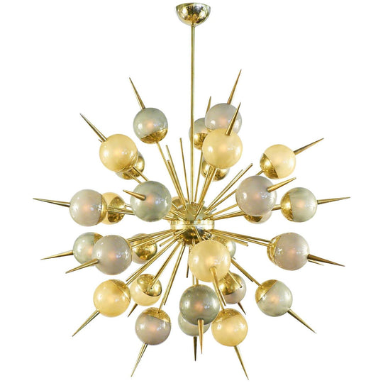 Murano Multicolored Glass on Brass Sputnik Chandelier