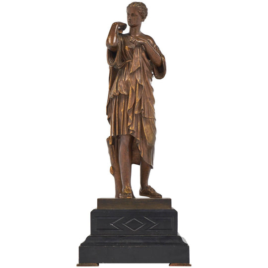 Antique French Bronze Athenian Woman Statue