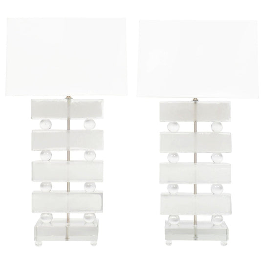 Frosted Murano Glass Block Lamps