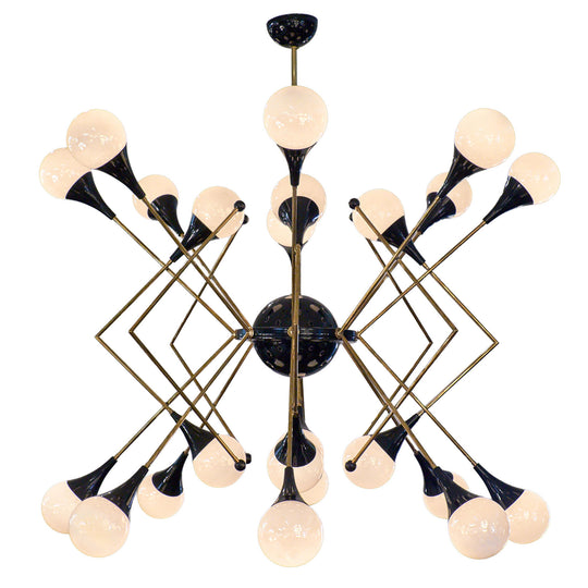 Stilnovo Style Murano Glass and Brass Chandelier
