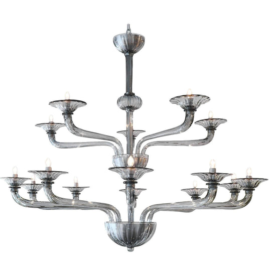 Murano Smoked Glass Fifteen Arm Chandelier