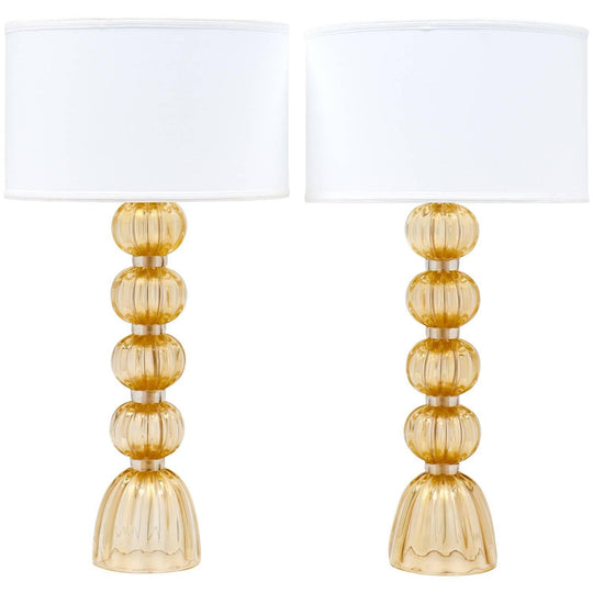 "Murano ""Avventurina"" Gold-Flecked Glass Lamps"