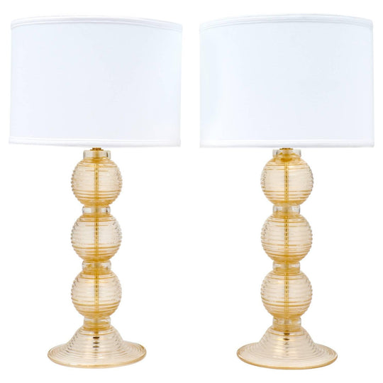"Ridged Murano ""Avventurina"" Glass Table Lamps"