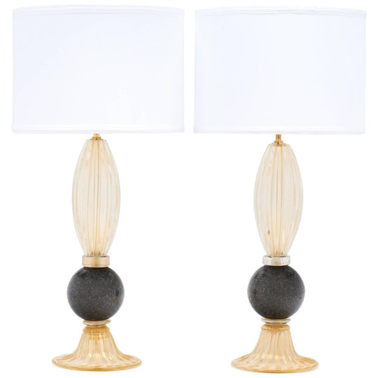 Murano Gold and Gray Glass Lamps
