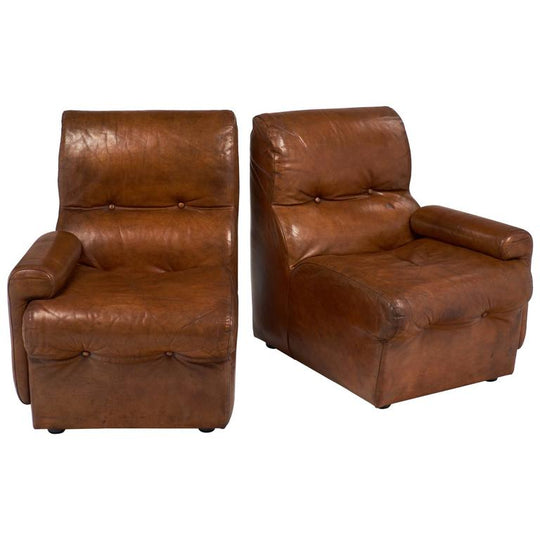 Cognac Leather Mid-Century Armchairs