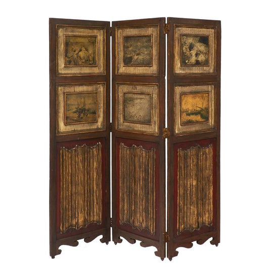 Three-Panel Painted Antique Folding Screen
