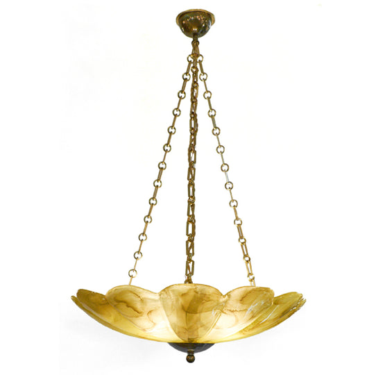 Brass and Amber Murano Glass Pendant Chandelier