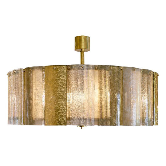Murano Gold Leaf and Textured Glass Chandelier