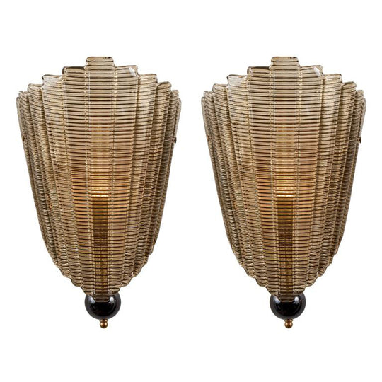 "Textured ""Stampato"" Murano Glass Wall Sconces"