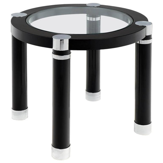 Modern Chrome and Ebonized French Side Table