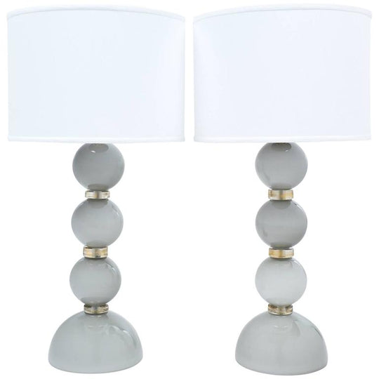 "Gray Murano Glass ""Incamiciato"" Table Lamps"