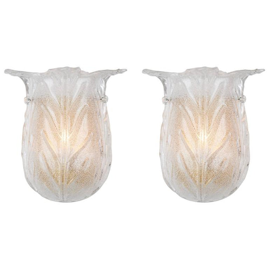 Murano Glass Tulip Shaped Sconces