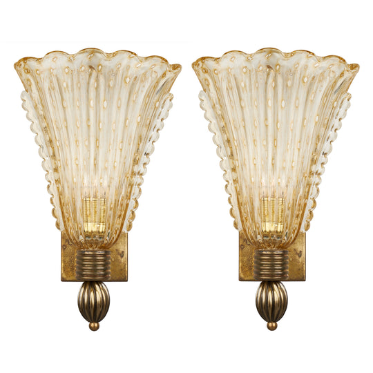 Vintage Murano Glass Sconces by Seguso