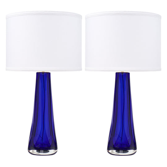 Italian Cobalt Blue Murano Glass Lamps