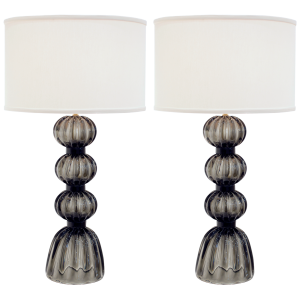 Pair of Murano Fumato Gray Glass Lamps