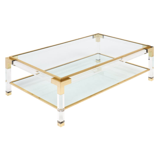Brass and Lucite French Coffee Table