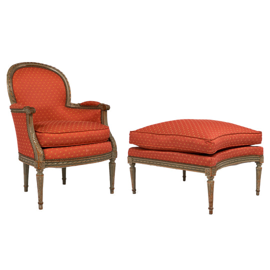 French Antique Louis XVI Style Bergere and Ottoman