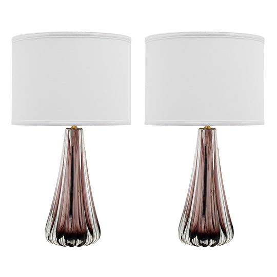 Amethyst Murano Glass Lamps