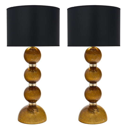 "Murano Glass Gold Leaf ""Pulegoso"" Lamps"