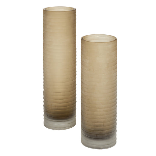 "Murano Glass ""Battuto"" Smoked Vases"