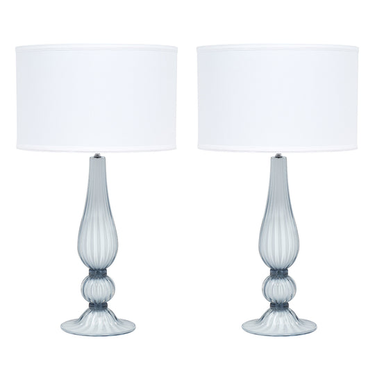 Light Blue Murano Glass Lamps