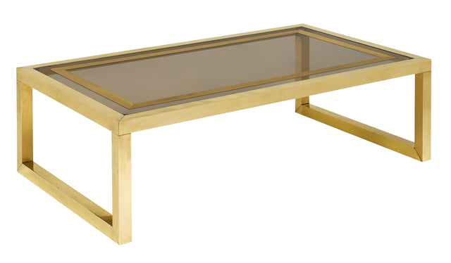 Mid-Century Coffee Table with Brass and Smoked Glass