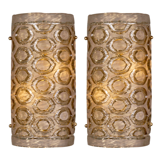Modernist Murano Glass Stamped Sconces