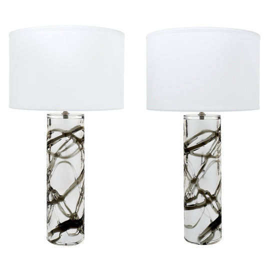 Pair of Murano Mercury & Smoked Glass Lamps