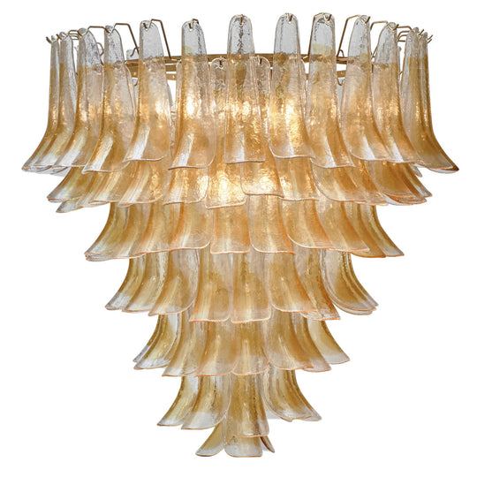 "Murano Orange and Clear Glass ""Selle"" Chandelier"