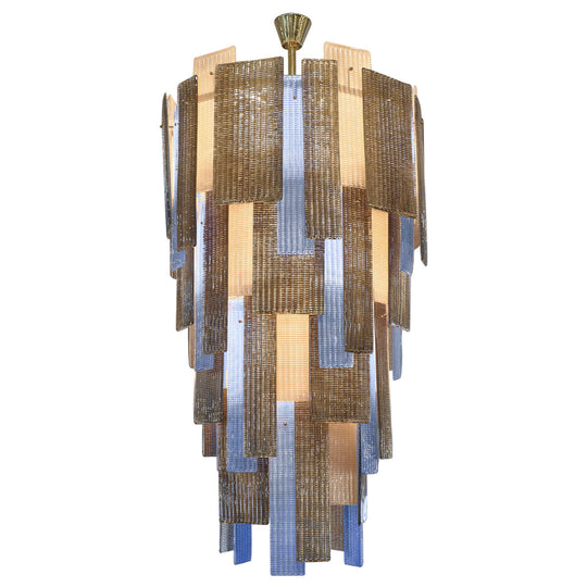 Murano Ridged Glass Multicolor Chandelier