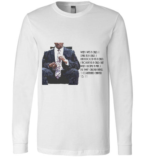 When I was a child. . . 1 Corinthians Chapter 13:11 Canvas Long Sleeve T-Shirt