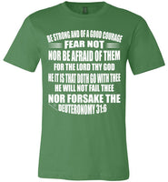 Deuteronomy 31:6 Canvas Unisex T-Shirt - Made in USA