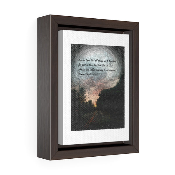 And we know. . . Romans Chapter 8:28 Vertical Framed Premium Gallery Wrap Canvas