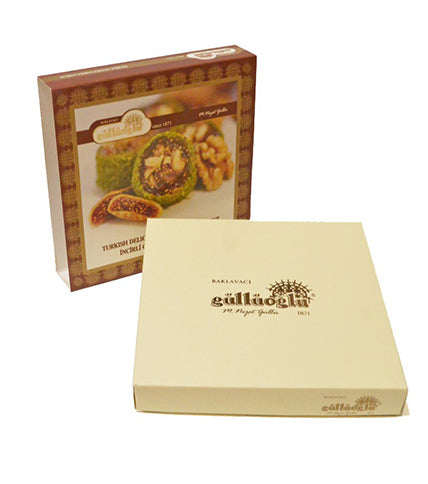 Güllüoğlu Incirli Cevizli Fistik Kapli Lokum, Fig-Walnut Turkish Delight Cov. with Pistachio  400gr
