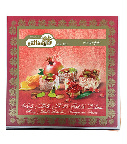 Güllüoğlu Narli Balli Fistikli Lokum, Pomegranate-Honey Pistachio Turkish Delight 400gr