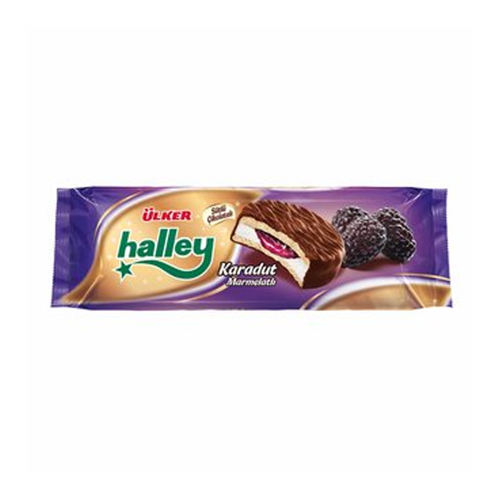 ULKER - HALLEY SANDWICH BISCUIT (w/PLAIN CREAM and BLACK MULBERRY COATED w. CHOCOLATE) Pack of 8
