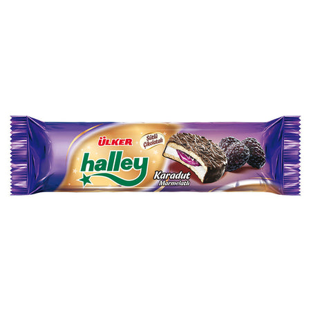 ULKER -HALLEY MINI SANDWICH BISCUIT w/PLAIN CREAM and BLACK MULBERRY FILLING COATED w. CHOCOLATE