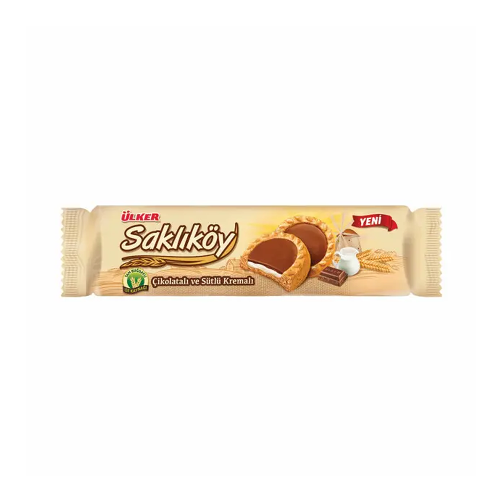 ULKER - SAKLIKOY OAT BISCUITS with CHOCOLATE and PLAIN CREAM