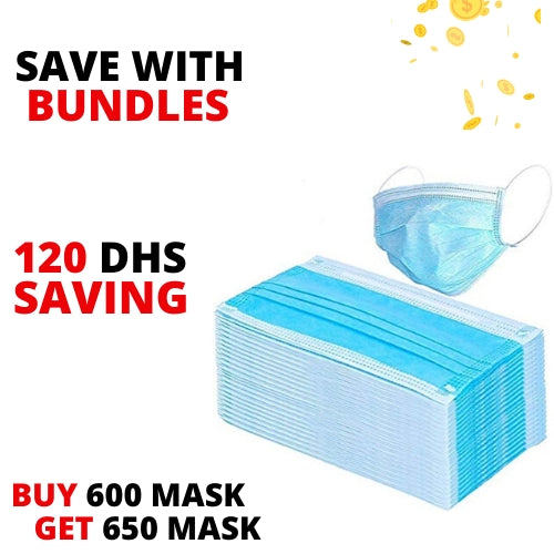 Friends Bundle - Disposable 3 Layer Mask - 600 Pcs + 50 Pcs Free